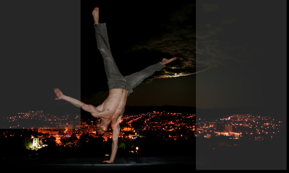 Tom Rydval - one-hand cartwheel on the edge of a roof
